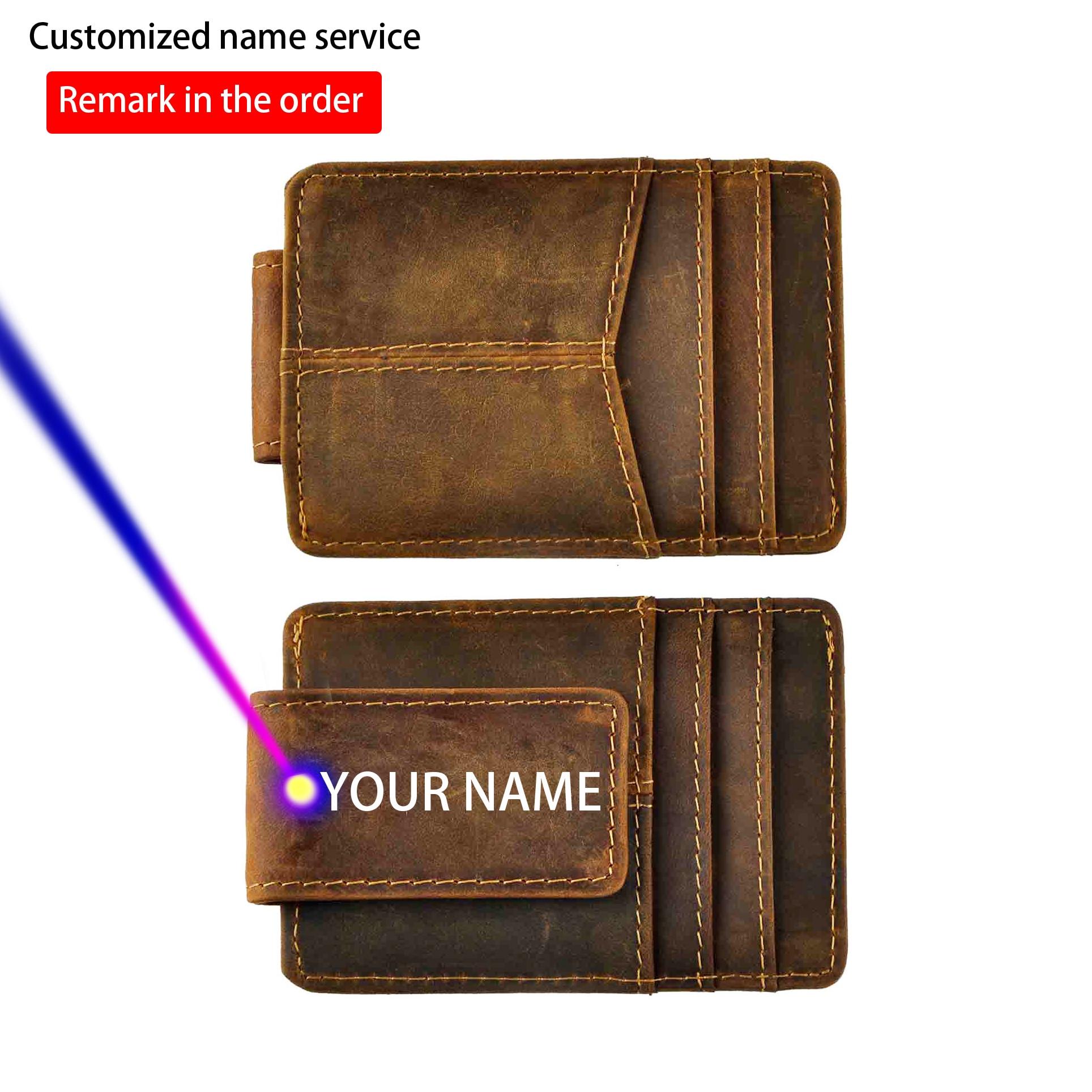 Gado masculino couro real cartão de crédito dinheiro bill titular ímã clipe de dinheiro fino mini acessível carteira frente bolso bolsa para homem 1017-d