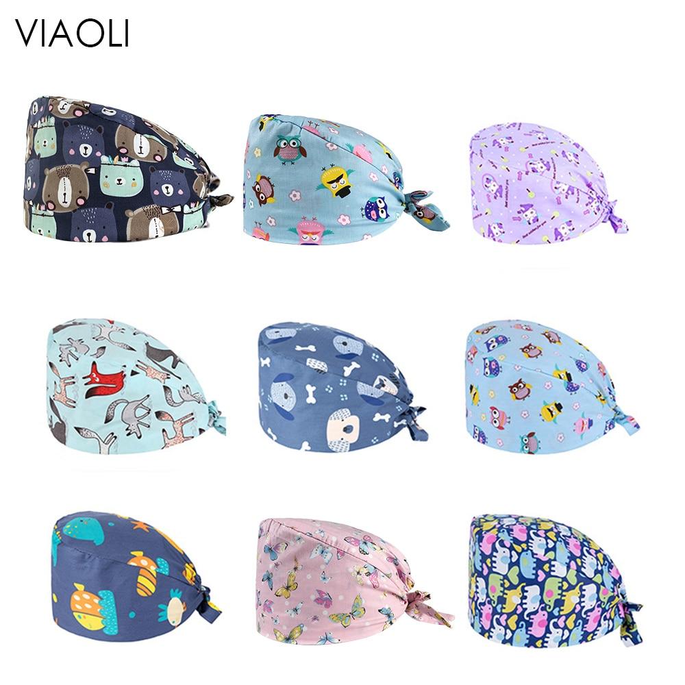 Viaoli New Cotton Surgical Caps Unisex Blue Pink Print Medical Surgical Caps Cotton Hospital Nurse Hat Men Women Medical