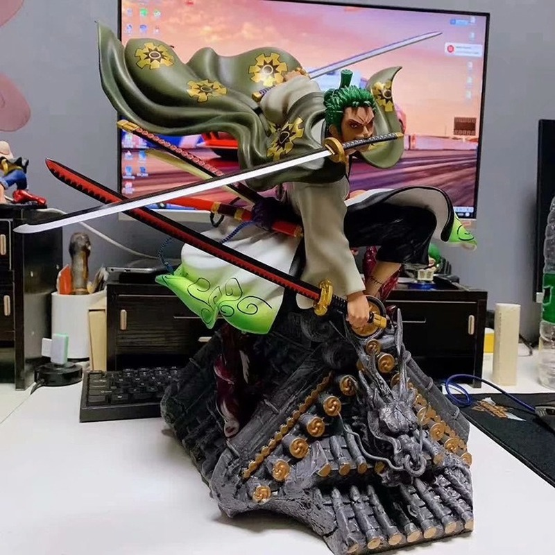 Japan Anime Limited Figure Action One Piece OP GK Lava Roronoa Zoro Statue Art Collections Best Gifts image