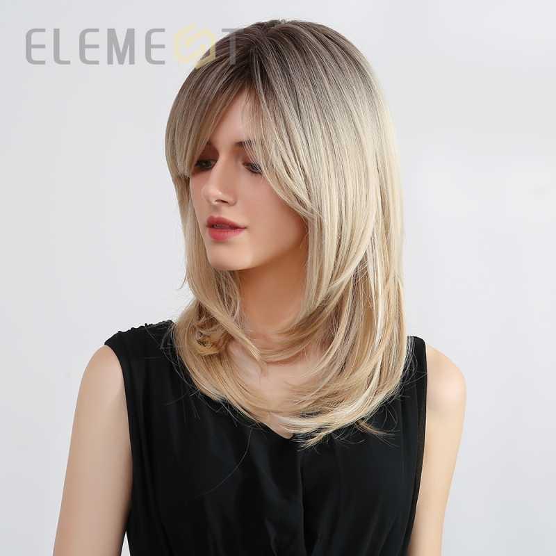 Element Lang Steil Haar Synthetische Ombre Dark Brown Blond Pruiken Met Pony Kant Voor Wit/Zwarte Vrouwen Party of Dagelijkse Slijtage