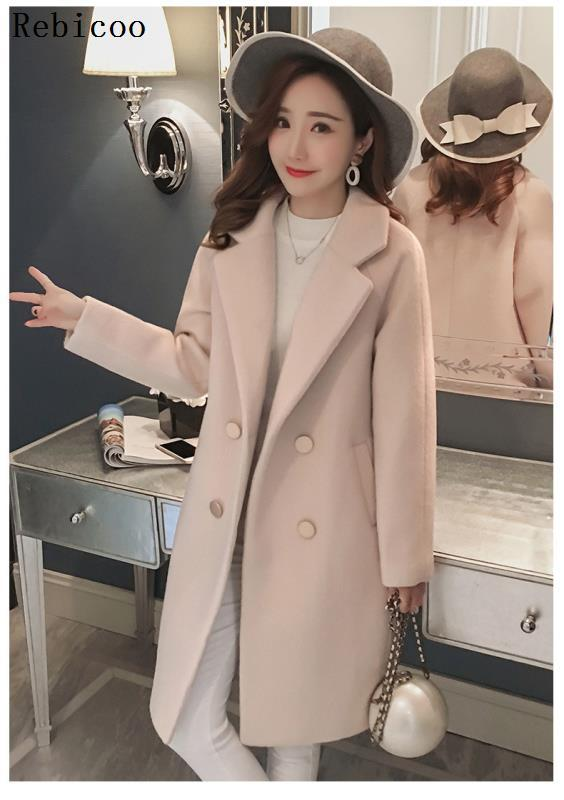 Winter Slim Plus Cotton Long Wool Blends Coat Women Hardy Solid Warm Thick Office Work Lady Coats