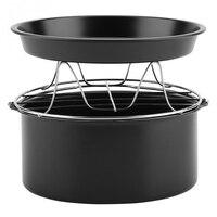 7 Polegada acessório 3 em 1 fritadeira de ar multifuncional acessórios conjunto kit peças pão prateleira bolo barril pizza pan|Air Fryers| |  -