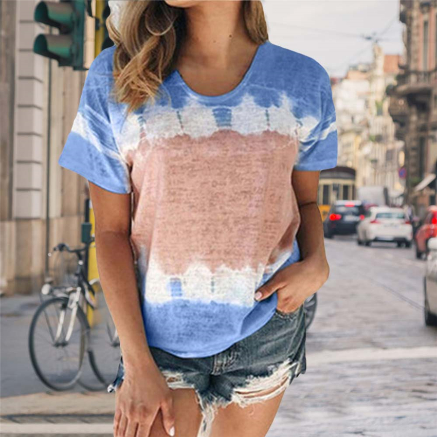 Tie-dye T-shirt Women Short Sleeve Summer Tops Tee 2020 New Linen T Shirt Women Clothes  Loose Casual Tie Dyeing Tshirt