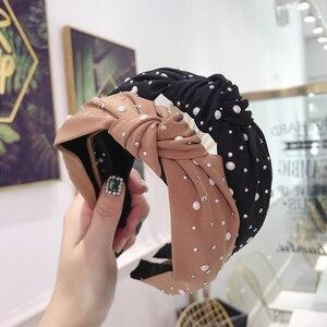 CN Fashion Knot Rhinestone Hairbands Shining Pearl Ornament Headbands Handmade turban For Girls Womens Hairhoop Hair Accessories