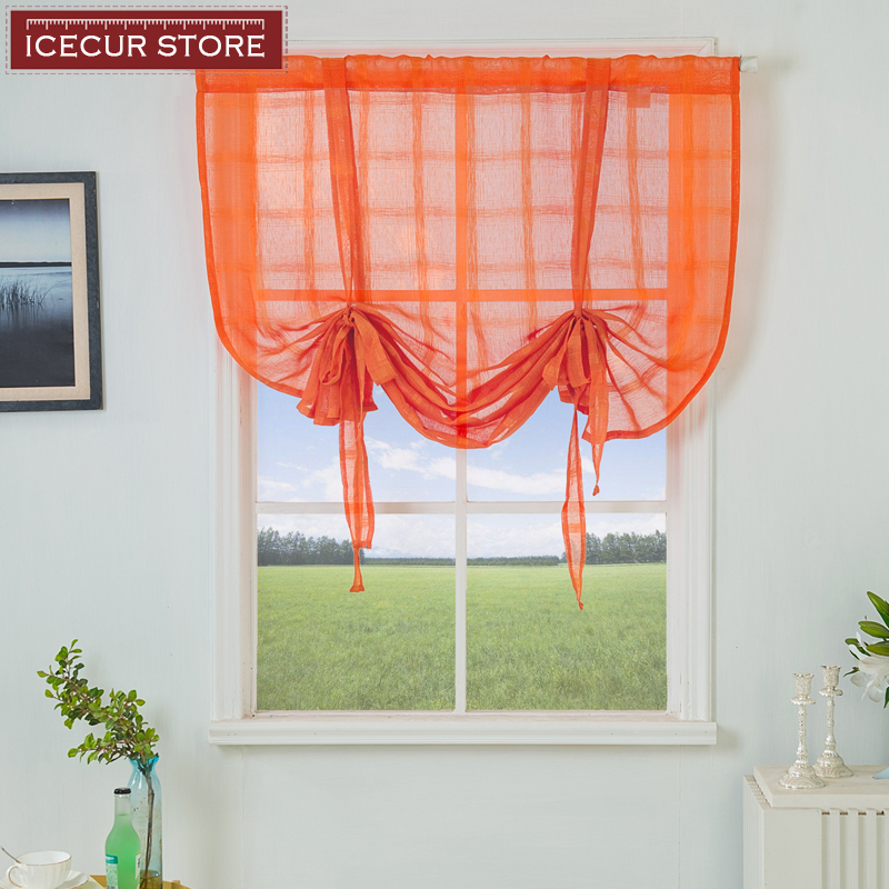 ICECUR Modern Short Curtains For Kitchen Plaid Sheer Tulle Kitchen Curtains Living Room Transparent Window Blinds Voile Tulle