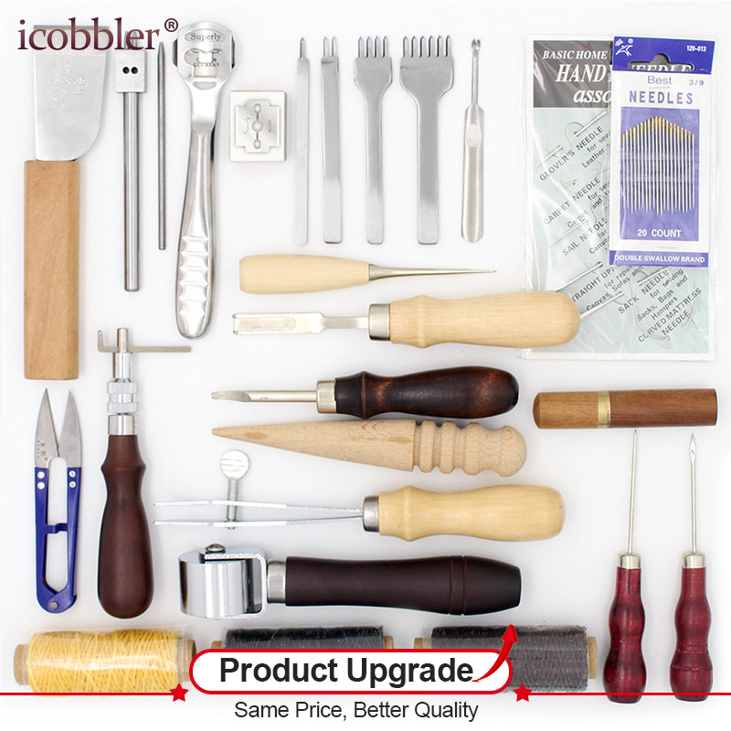 25 Pcs/Lot Tools for Working with Skin Leather Craft Hand Tool Set Thinning Edge Beveler Groover for Leather Processing Tool