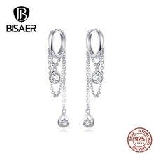 BISAER Rock Style 925 Sterling Silver Geometric Hyperbole Stud Earrings for Women Cubic Zircon Sterling Silver Jewelry ECE638