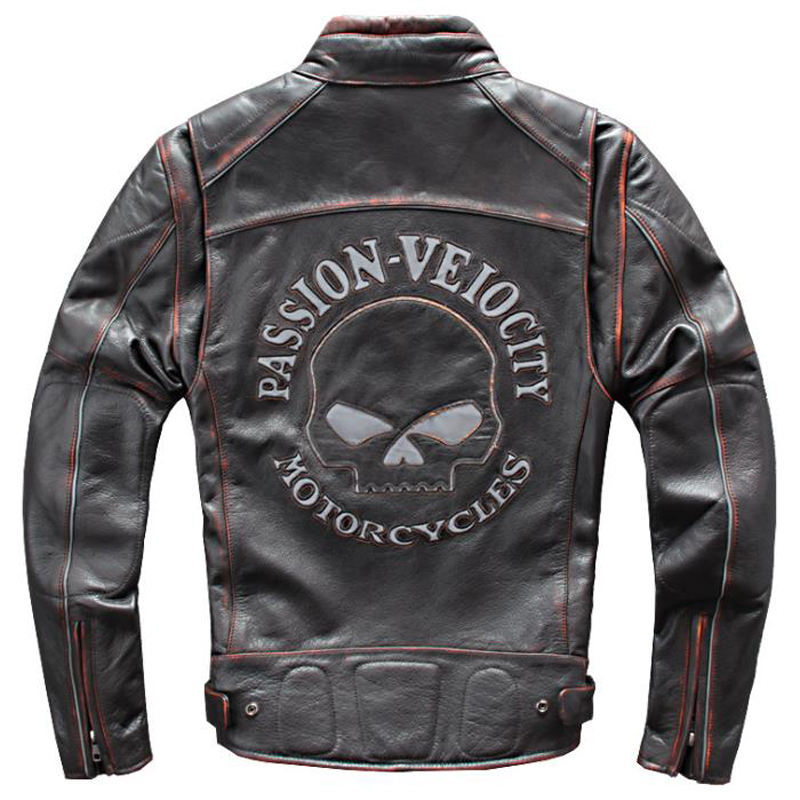 2020 New Genuine Leather Jackets Mens Skull Pattern Real Leather Coats Flight Mens Bomber Jacket Cow Leather Windbreaker A765