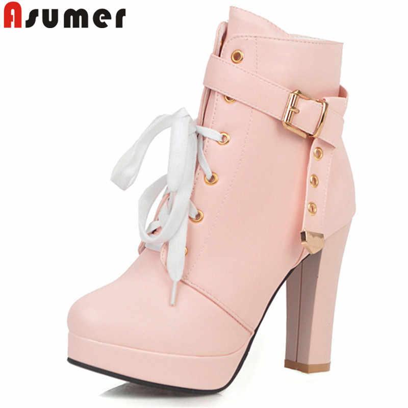 ASUMER büyük boy 34-43 moda sonbahar kış çizmeler yuvarlak ayak zip yüksek topuklu ayakkabılar kadın yarım çizmeler klasik balo platform çizmeler