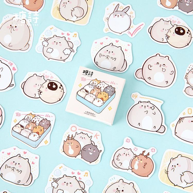 Mohamm 45PCS Box Stickers Fat Mouse Creative Cute Cartoon Animal Sticker Flakes Scrapbooking Gift Girl School Supplies