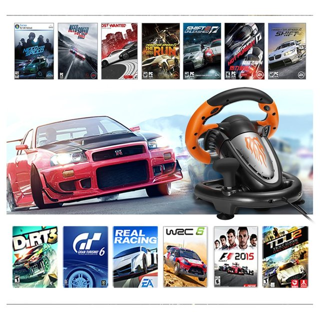 PXN V3II Racing Game Pad 180 Degree Steering Wheel Vibration Joysticks With Foldable Pedal For PC PS3 PS4 All-in-one 4