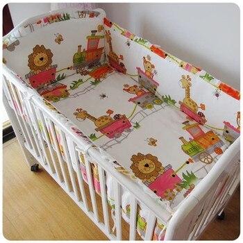 6pcs Lion Baby Crib Set kit berço Baby Crib Bedding Sets Birthday Gift Kids Room Decoration (4bumpers+sheet+pillow cover)