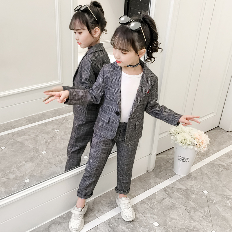 Fashion Girls Clothing Set Autumn Girls Plaid Suit Jackets +Pants Teenage Tracksuit Girls Clothes Children Outfits 6 8 10 Years
