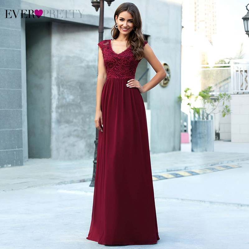 Elegant Floral Lace Evening Dresses Ever Pretty Embroidery A-Line V-Neck Sleeveless Burgundy Formal Party Gowns Robe De Soiree
