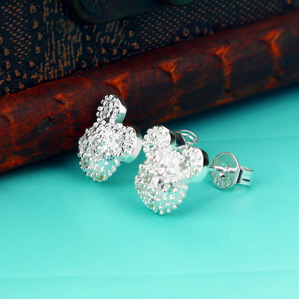 L-91 Wholesale Hot sales 925 Sterling Silver Dazzling CZ Miky Mouse Push-back Stud Earrings for Women & Girls серьги Jewelry(China)