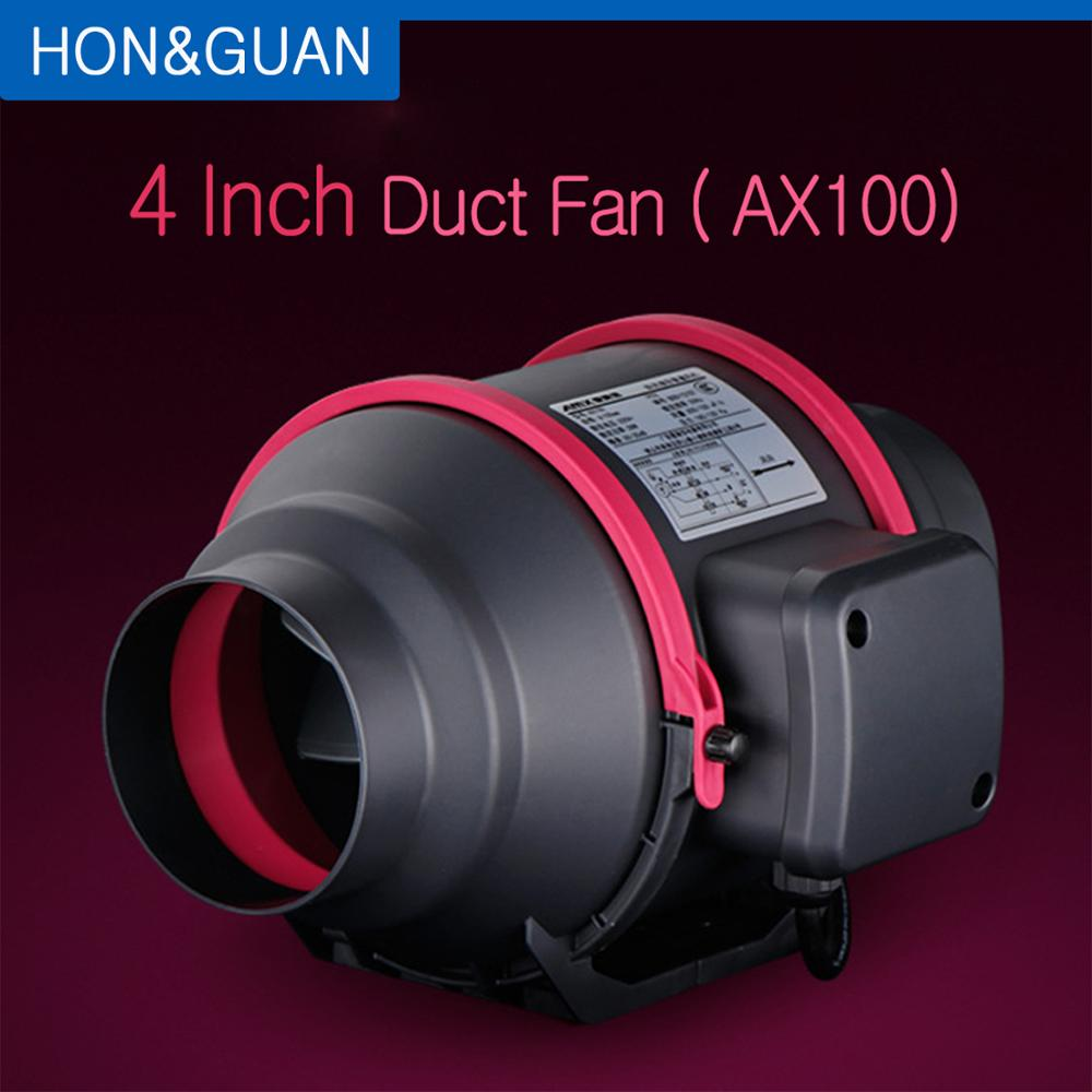 4'' AX100 Silent Duct Fan Exhaust Fan Hydroponic Air Blower For Home Bathroom Vent And Grow Room Ventilation; 220V 28W