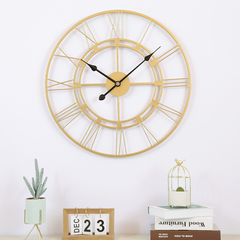 Luxury Metal Creative Wall Clock Mute Vintage Nordic Retro Wall Clock Living Room Minimalist Klok Home Decoration Reloj Pared