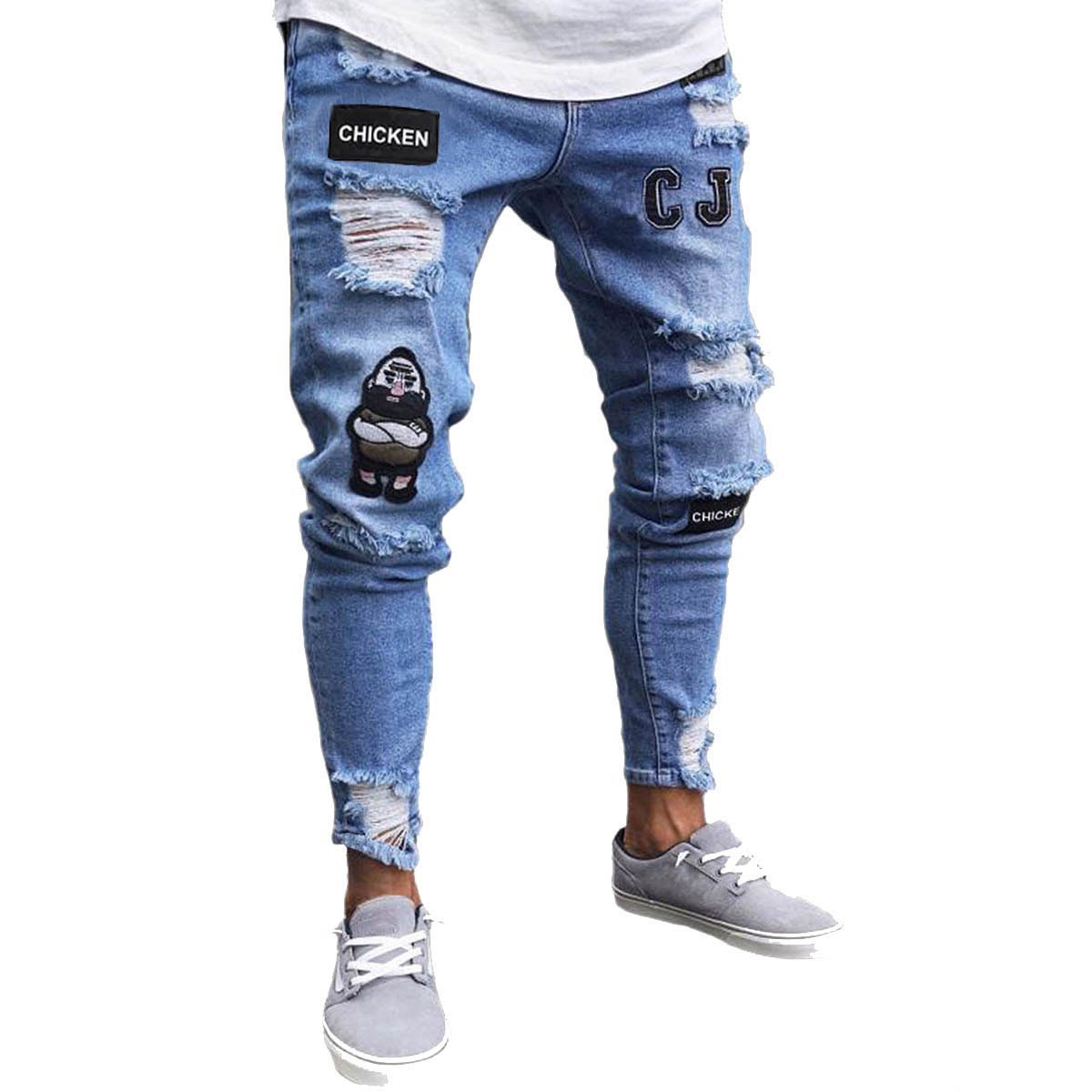 Europe And America Men'S Wear Hot Selling Men Tight Slim Fit With Holes New Style Men Badge Slim Fit Broken Jeans Jeans Men's