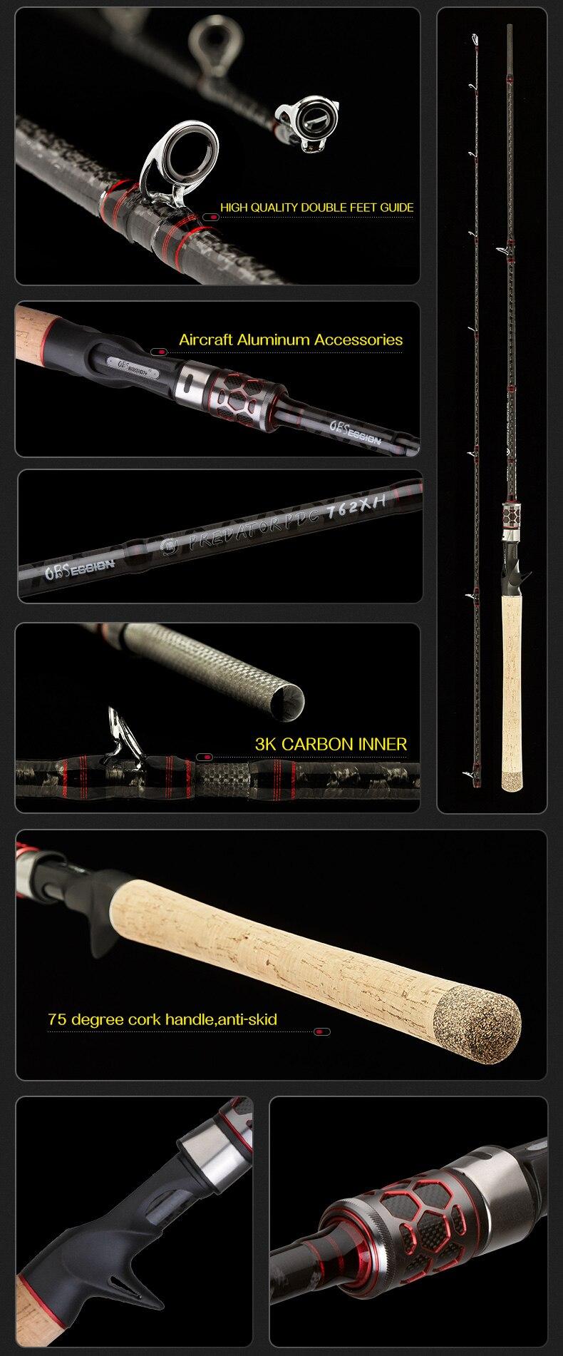 Obsessão carbono 2 seções fundição vara de