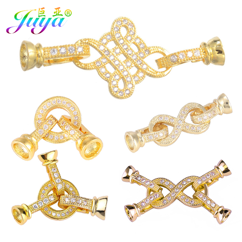 Juya DIY Pearls Bracelet Necklace Making Components Gold/Silver/Rose Gold Bowknot Connector Fasterner Closure Clasps Accessories
