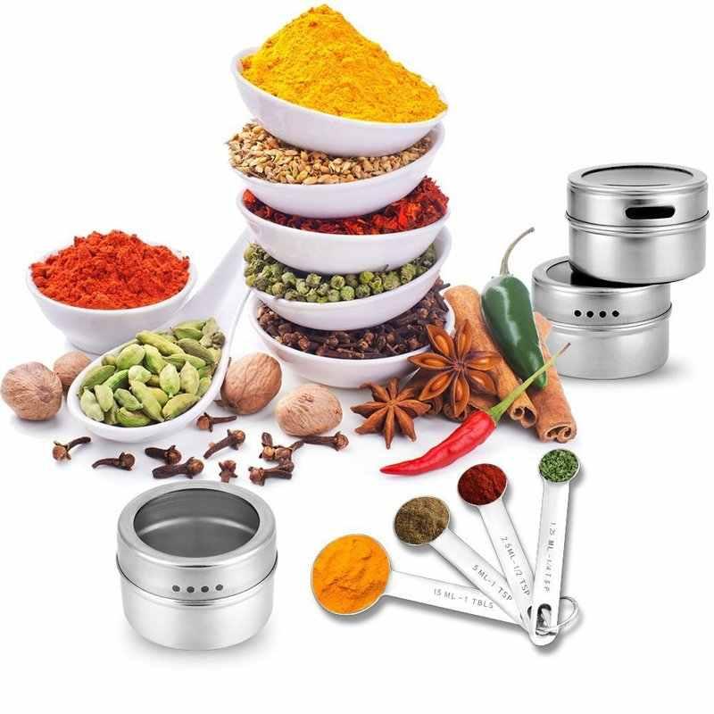 12 stücke Edelstahl Spice Gläser Set Dosen für Kraut Salz Pfeffer Gewürze Magnetische Gewürz Dosen Würze Topf Lagerung Flasche container