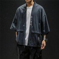 2019 Vintage Kimono Jacket Men Casual Loose Open Stitch Chinese Style Tops Linen Cardigan Coat Traditional Retro Men Jackets