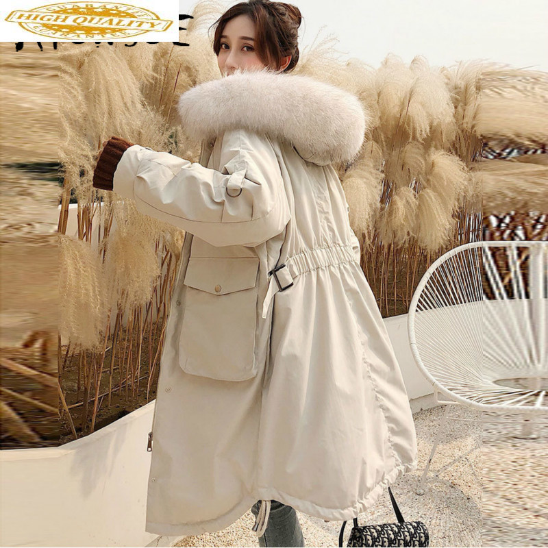 Duck Down Jacket Women Clothes 2019 Winter Coat Women Korean Raccoon Fur Collar Puffer Jacket Women Warm Parka G8006 YY2175