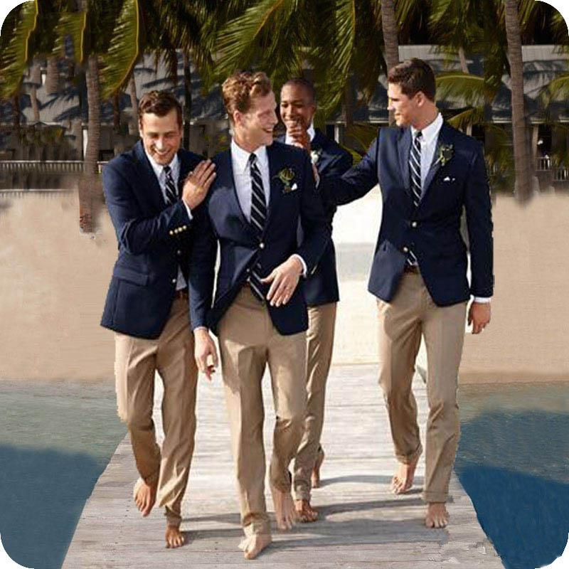 Casual Blazers For Party Birthday Prom Navy Blue Jacket + Khaki Pants Slim Fit Groom Wedding Suits Outfits Lapel Mens Tuxedos