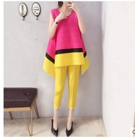 HOT SELLING Miyake fashion patchwork top clothing elegant pleated little feet pants set IN STOCK