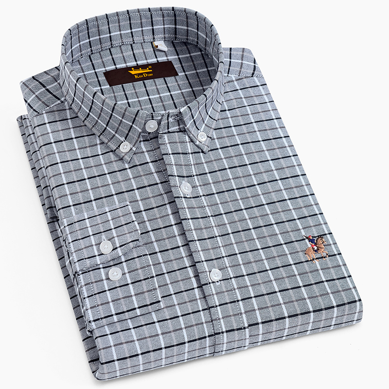 Men's Plaid Checked Oxford Button-down Shirt Embroidered Logo Standard-fit Long Sleeve Comfortable Soft Cotton Casual Shirts