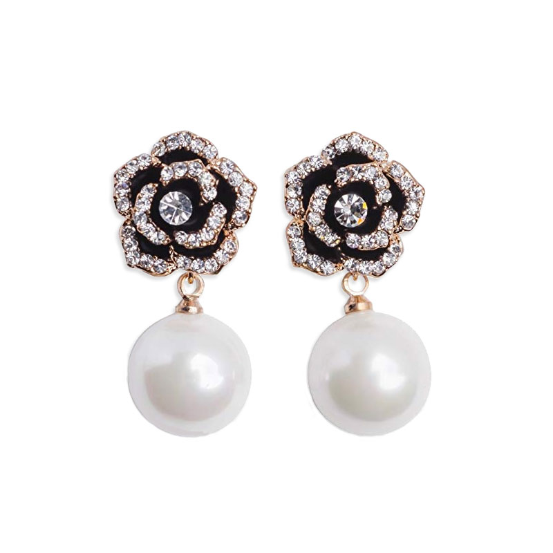 Fashion Brand Gold Crystal Black Flwoer Pearl Earring For Women Trendy Rose Camellia Earrings