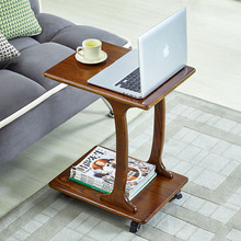Solid wood movable laptop table sofa side table with wheel small coffee table bedside writing study desk