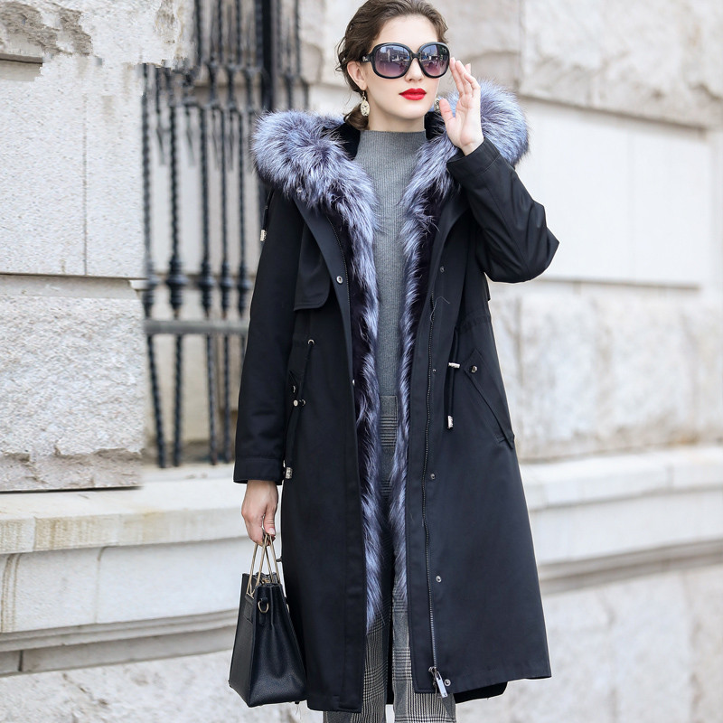 Parka 2020 Real Fur Coat Winter Jacket Women Rabbit Fur Liner Long Jackets For Women Fox Fur Collar Warm Overcoat MY4200 S