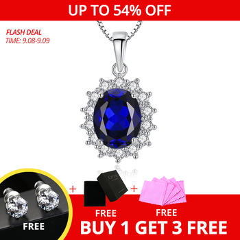 CZCITY Elegant Oval Princess Diana William Sapphire Pendant Necklace for Women 100% 925 Sterling Silver Charms Necklace Jewelry