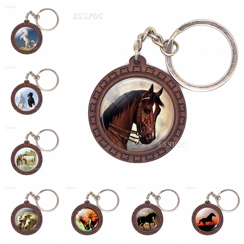 Horse Wooden Keychain Horse Picture Glass Cabochon Keychain Wooden Jewelry Aanimal Key Pendant Christmas Gifts Dropshipping