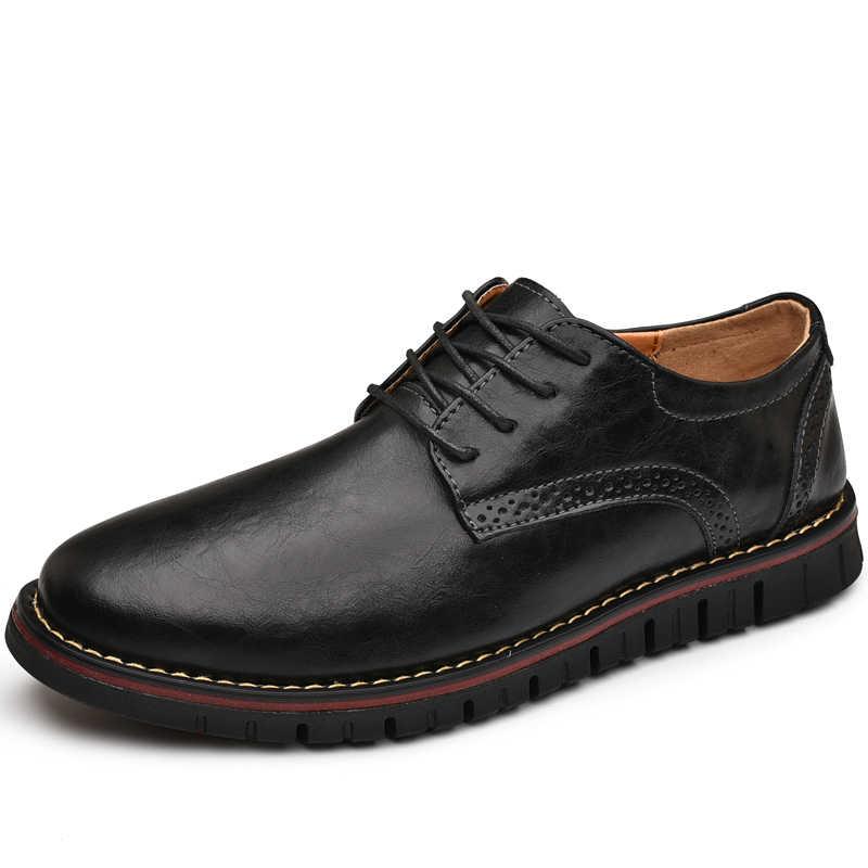 גודל גדול 38-48 נעליים יומיומיות גברים אופנה גברים נעליים יומיומיות באיכות גבוהה עור מקרית גברים נעלי אביב סתיו גברים סניקרס