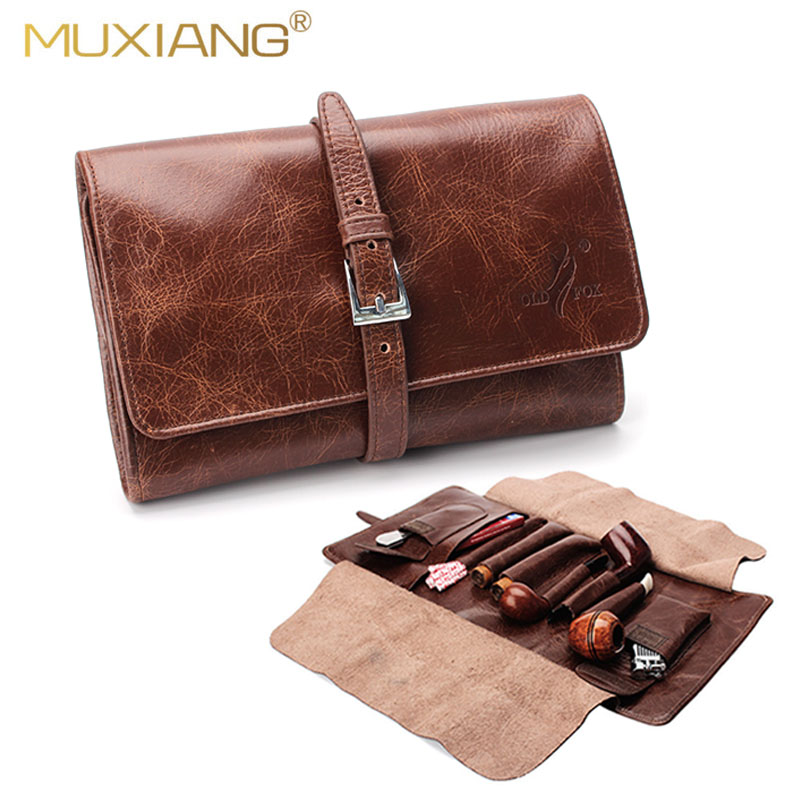 OLDFOX Leather Smoking Tobacco Pipe Pouch Bag Organize Case Pipe Accessories Tool Holder Pocket For 2 Pipe & 2 Cigar Fc0008