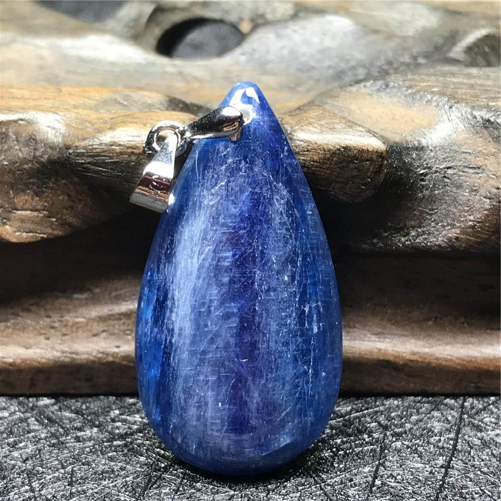 Top Natural Blue Kyanite Pendant Jewelry For Women Man 32x17x5mm Bead Cat Eye Gemstone Crystal 925 Silver Necklace Pendant AAAAA