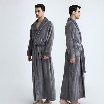 Warm Flannel Coral Fleece Waffle Kimono Bathrobe Men Women Luxury Dressing Gown Male Bath robe