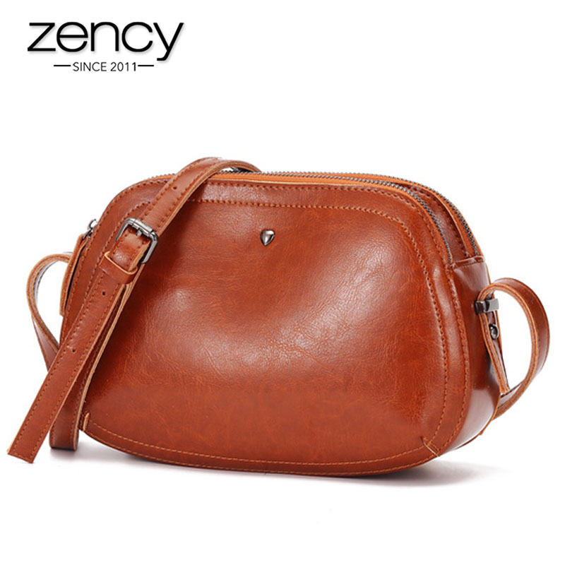 Zency 100% Genuine Leather Retro Women Messenger Bag High Quality Small Flap Bags Lady Shoulder Bag Black Brown Tote Handbag