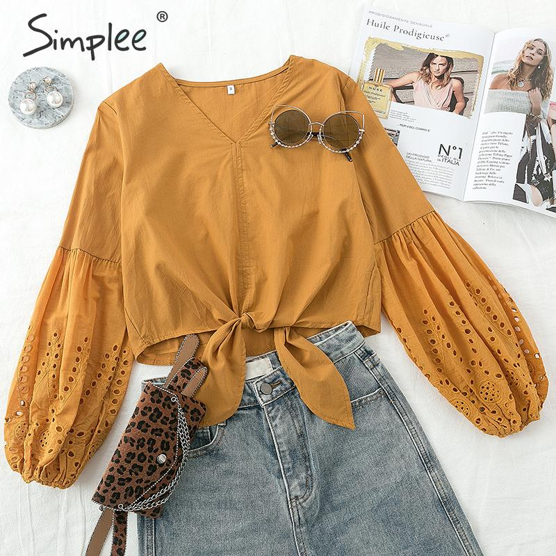 Simplee Elegant Bow Tie Women Blouse Shirt Hollow Out Lantern Sleeve Female Short Shirts V Neck Office Ladies Cotton Blouses Top