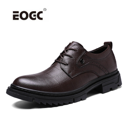 Natural  Leather Men Shoes Fashion Lace-up Oxford Shoes New Footwear Business Office Shoes Plus Size Dress Shoes Men