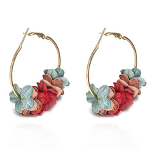 Cloth Art Flower Earring Popular Personality Fashion Temperament Charming 6 Colors Unique Hot Sale Circle Allergy Free