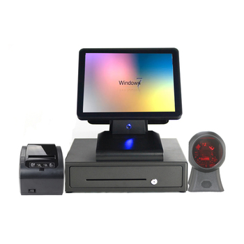 Dual bill machine Four-piece set computer Retail 15 inch pos flat capacitive pos system