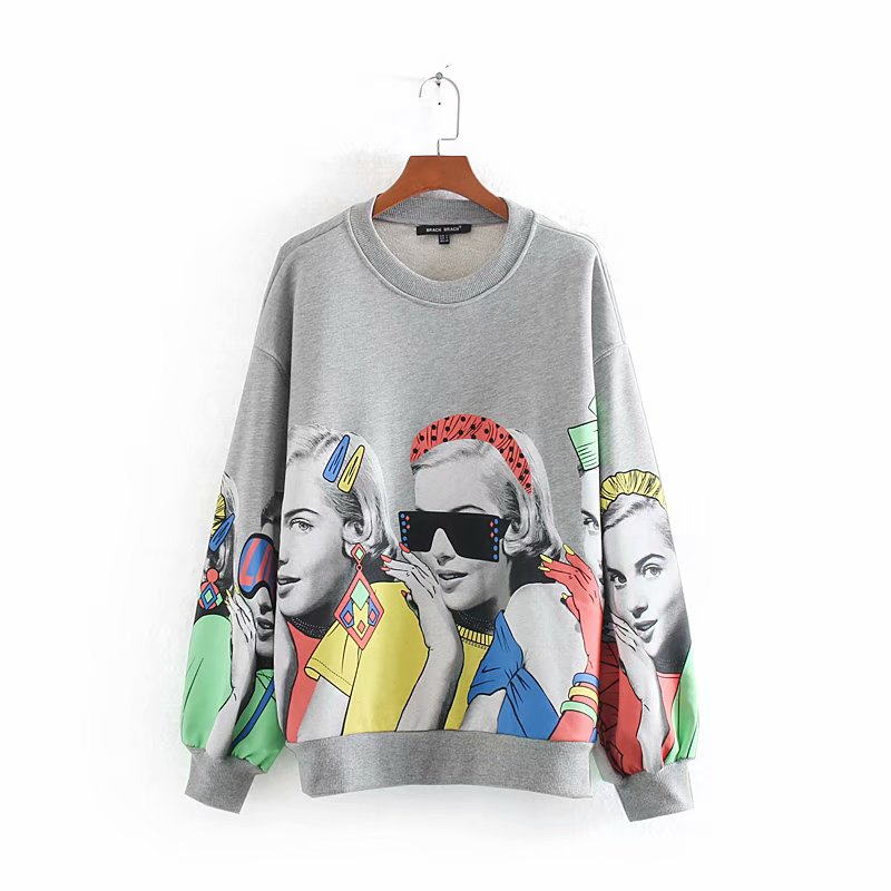 New Women Elegant Modern Beauty Pattern Printing Casual Chic Sweatershirts Female Autumn Long Sleeve Basic Hoodies Tops H105