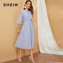 SHEIN Bleu Rayé Simple Bouton Avant Cordon de Taille Robe Femmes Automne Double Poche décontracté Mi-longue Évasée Robes Pour Dames
