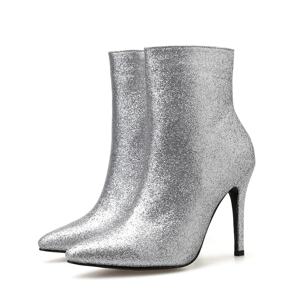 Купить с кэшбэком Silver Women's Ankle Zip Boots NIUFUNI Pointed Toe Boots Women's Stiletto High Heels Casual Woman Shoes Bottes Femme Size 35-40