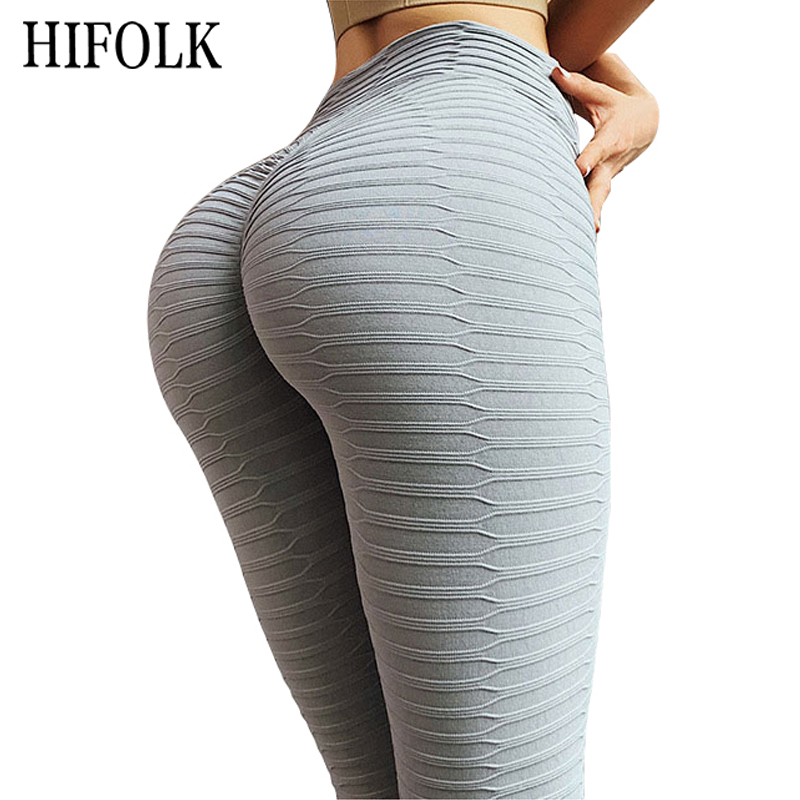 HIFOLK Fashion Gray Leggings Sexy Women Knitted Polyester Skinny Pants Black Push Up Workout Fitness Leggings Elasticity Legging
