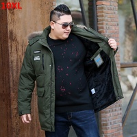 Winter long section Velvet jacket 10XL men's down jacket plus size 10XL loose thickening plus suede jacket male
