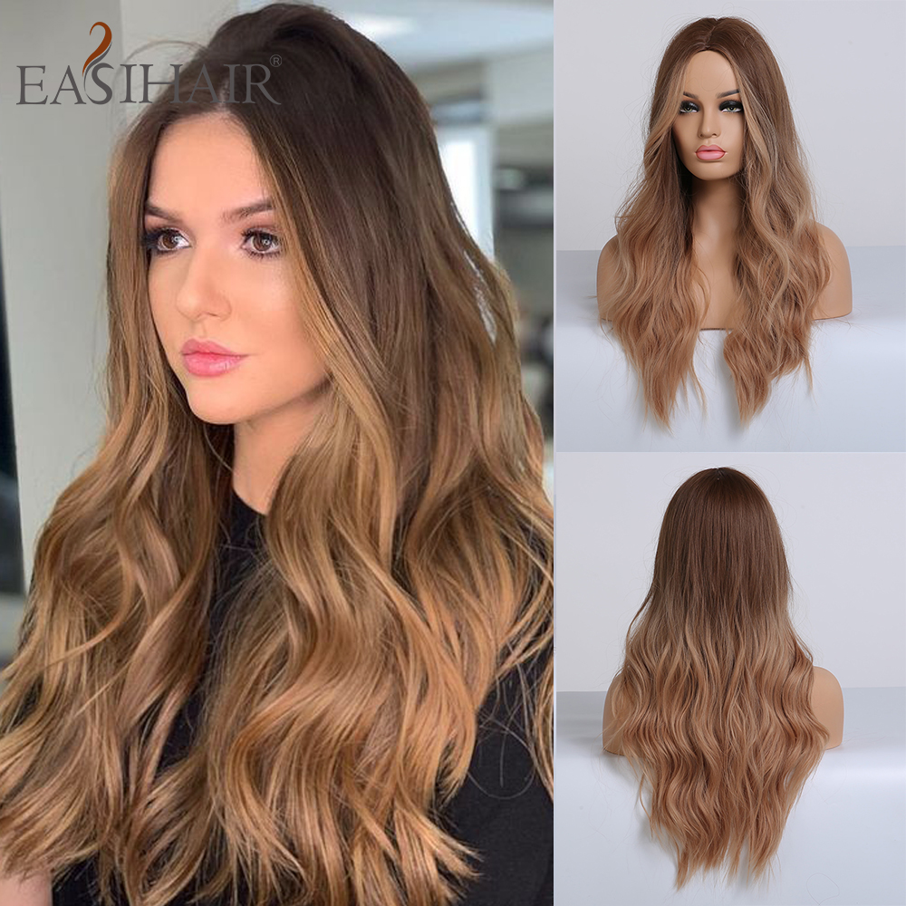EASIHAIR Long Brown Blonde Ombre Wigs High Density Temperature Synthetic Wigs For Women Middle Part Glueless Wavy Cosplay Wigs